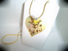 """Mother of Pearl Heart / Butterfly Pendant 17"""" Gold Plated Chain..by Chubbychick"""