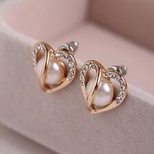 Sale Rose Gold Hollow Heart Shape Pearl Earrings Ear Studs Rhinestone