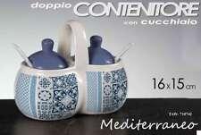 BARATTOLO CUCINA DOPPIO 16*H15 CM + CUCCHIAIO CERAMICA MEDITERRANEO TAW 710742