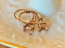 "Morganite Peach Earrings 14k gold o/Sterling Silver 3/4"" dangle New Pink Estate"