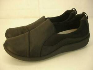 Women's sz 9 M Clarks CloudSteppers Sillian Paz Slip-On Loafer Shoes Black Wedge