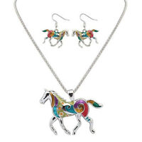 Gold Silver Colorful Women Gift Enamel Horse Jewelry Earring A Set Necklace