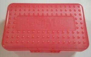 SPACEMAKER Pencil Box School Supply Case Red/Orange Top & Translucent Bottom