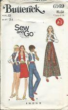 B 6169 sewing pattern 70's retro VEST A-line SKIRT SHORTS long PANTS sew size 12