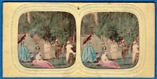 rare front tinted tissue stereoview photo stereo Country gentry scenery ca 1860