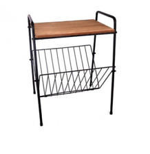 Magazine Rack Retro Wood Top Side Table Stand Newspaper Holder Storage Organizer