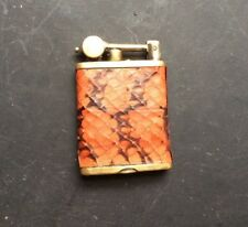 Vintage GEM Lift Arm Lighter By RONSON Co. USA Real Snake Skin Wrap Circa 1920's