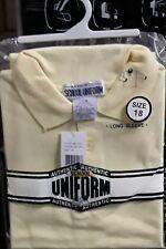 Authentic School Uniform Boys Long Sleeve Polo Shirt, Yellow Size 18
