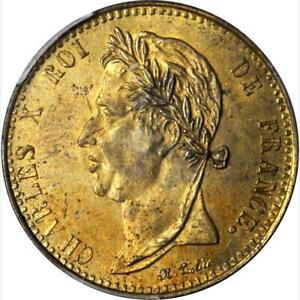 1829 French Colonies 5 Centimes, Brass, KM-10.1, PCGS MS 63, Struck for Guyana