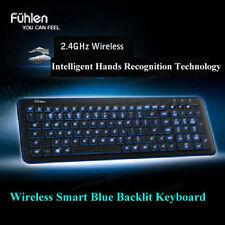 Blue LED Backlit Slim Wireless Intelligent Multimedia Keyboard+Mini USB Receiver