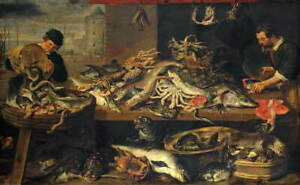 Frans Snyders Fish Stall Giclee Art Paper Print Paintings Poster Reproduction