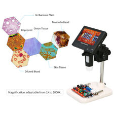 "1000X Magnification 4.3"" LCD Microscope 720P LED Digital Magnifier w/Holder UK"