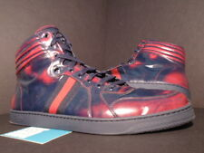 GUCCI BRUSH CALF/NS NYLON HIGH-TOP SNEAKER ROSSO BLUE MAROON RED 283533 14 13