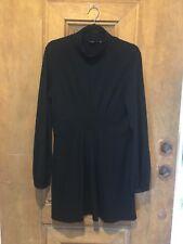 Theory Nina Dress LARGE Turtleneck Long Sleeve Pleated Stretch Wool Blend Black