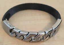 NWOT Fossil Chain Link and Leather Bangle Bracelet, Black JF02761040