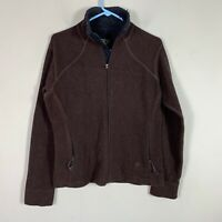 MOUNTAIN HARDWEAR Fleece Jacket Women's Size M Wool Full Zip Long Sleeve Brown