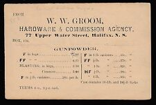 1875 Guns. Small Queen postal card advertising gunpowder. Halifax, N.S. SP