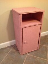 Bedside Cabinet Storage Draws Shabby Chic Wicker Vintage Retro Pink 3 Shelves