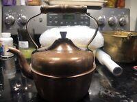 Vintage Copper Tea Pot Kettle Made in Portugal With Wood Handle - Gooseneck