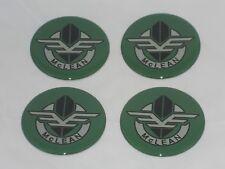 4 Green Mclean Wire Wheel Rim Center Cap Round Sticker Logo 225 57mm Dia