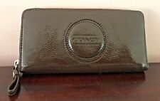 Coach Brown Liquid Gloss Patent Leather Zip Around Wallet