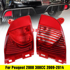 RHD Pair Rear Tail Bumper Fog Light Reflector For Peugeot 308CC 2008 2009-2019