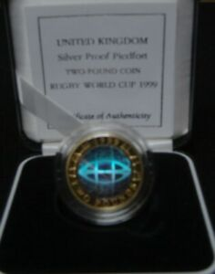 1999 RUGBY WORLD CUP PIEDFORT HOLOGRAM £2 SILVER PROOF - boxed/coa