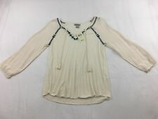 NWT $69.50 LUCKY BRAND Cream Peasant Embroidered L/S Tassel Top Sz Small S NEW