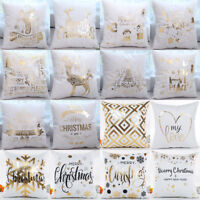 "18"" Christmas Gold Foil Printing Pillow Case Throw Cushion Cover Sofa Home Decor"