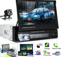"7""HD Car Stereo Radio MP5 Player Single DIN Touch Screen Aux USB FM Radio Camera"
