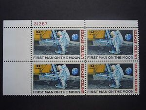 1969 #C76 10c Man on the Moon Plate Block  MNH OG VF