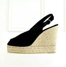 Castañer Black Canvas Peep Toe Platform Wedges Straw Castaner Leather 40 7