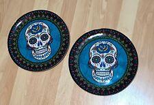 Day of the Dead Sugar Skull Dia de los Muertos Plastic Dinner Plates Set of 2