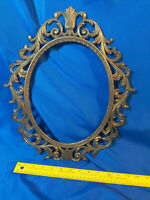 Antique-VTG Cast Metal Oval Ornate Picture Frame Victorian Deco Regency Painting