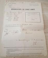 Congo Belge Belgian Congo  Force publique Renonciation au congé limité 1939