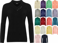 Hip Length V Neck Tops & Shirts for Women with Buttons