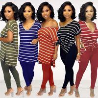 Women V Neck Short Sleeves Stripe Print Casual Side Slit T-shirt Tops Blouses