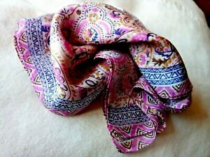 "INDIAN 100/% PURE SILK HANDMADE SQUARE MULTI-COLOURED FLORAL SCARF 21/""x 21/"" £7.50"