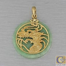 Vintage Estate 14k Solid Yellow Gold Green Jade Dragon Necklace Pendant