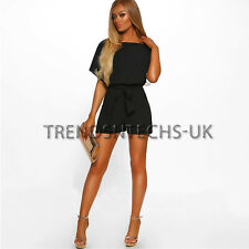 UK Womens Summer Striped Holiday Belted Jumpsuits Playsuits Holiday Beach 6-14