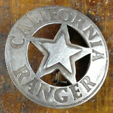 California CA Ranger Round with Star Shaped Silver Plate Pinback Police Badge