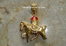Feng Shui - 2016 Gold Wind Horse with Flaming Jewel Pendant (Stainless Stee)