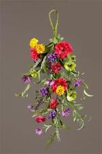 New Country Cottage Chic SUMMER WILD FLOWER Floral Tear Drop Door Swag Wreath