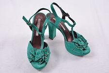 NORMA J. BAKER Designer 38 Italy Luxus High Heels Plateau Leder  Pumps grün TOP