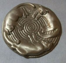 """Pewter cat theme embossed lid or paperweight marked EBJ 3 3/4"""" across"""
