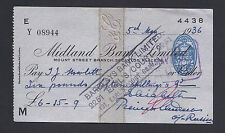 Princess Andrew Romanov of Russia Signed Autograph Cheque 1936 - Midland Bank