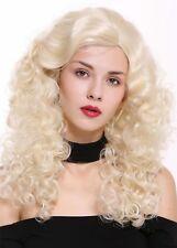 Peluca de Mujer Lang Volumen Raya al lado Rizos Esplendor Rubio Platino Rubia