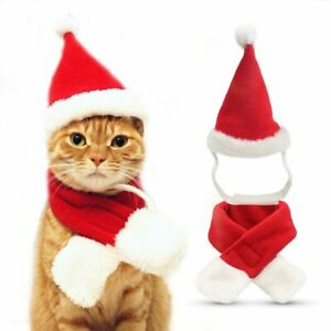 Cat Santa Hat with Scarf -Christmas Costume Set Puppy Dog Cat Christmas hat gift