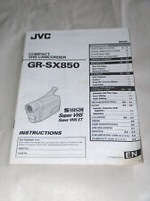 JVC VHS Compact Camcorder GR-SX850 Instructions Manual