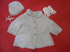 VTG 1950's Toddler Girls Curtsy Swing Coat w/ Matching Hat Gloves White Faux Fur